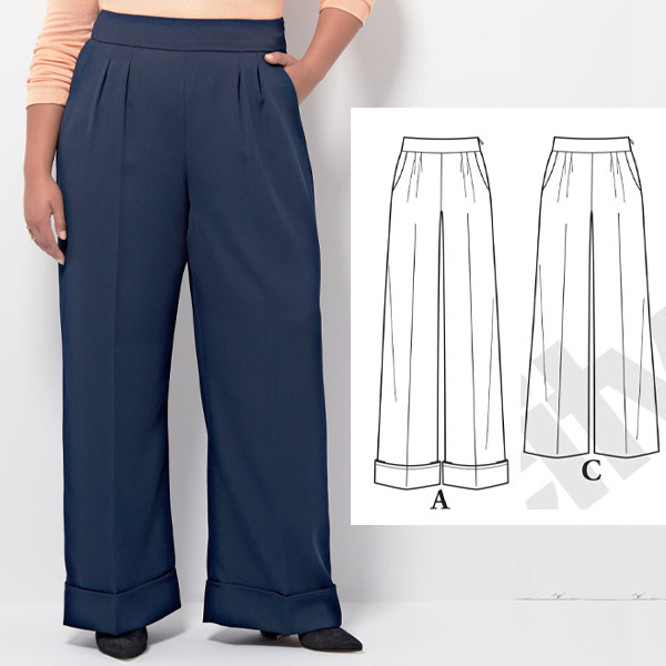 a woman wearing navy wide-leg pants, and sewing pattern line drawings.