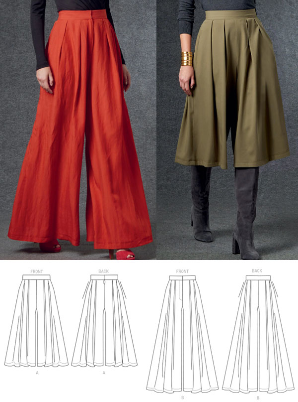 women wearing red and green wide leg palazzo pants, and sewing pattern line drawings.