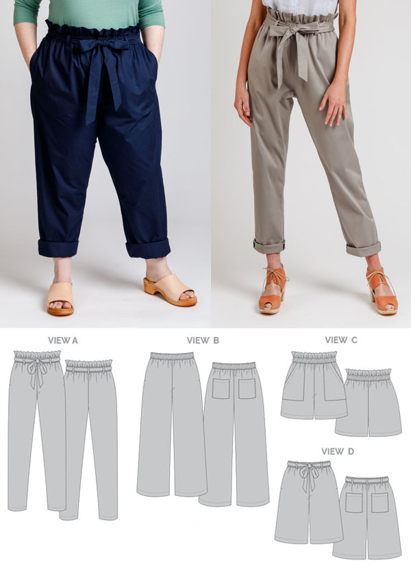 2 women wearing paperbag waist pants, and sewing pattern line drawings.