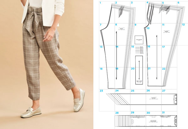 a woman wearing brown check paperbag waist pants, and a free sewing pattern line drawing