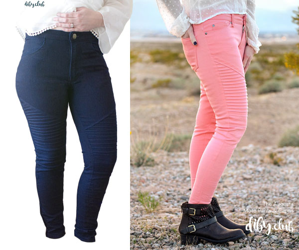 women wearing blue and pink jeans with pintuck details