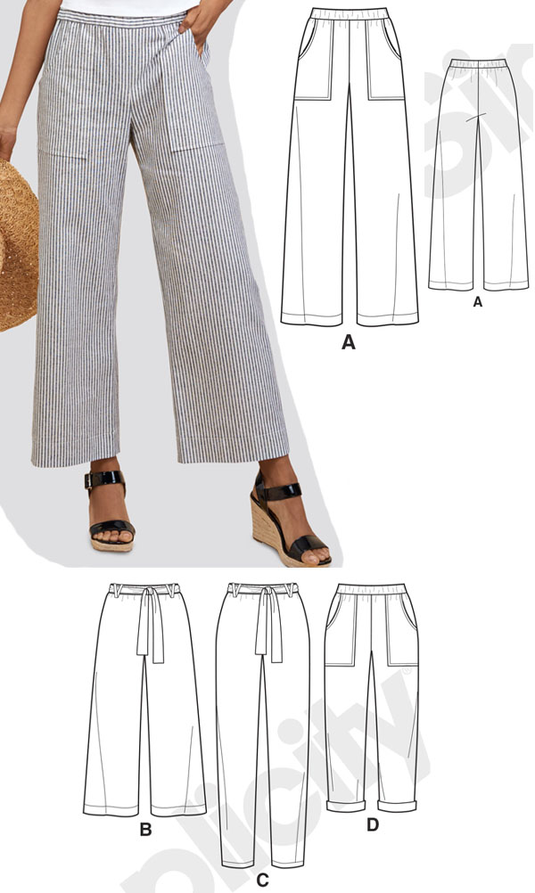 a woman wearing striped wide leg pull on pants, and sewing pattern line drawings.