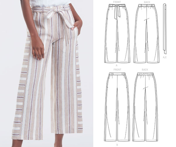a woman wearing striped pull-on pants with wide legs, and sewing pattern line drawings.