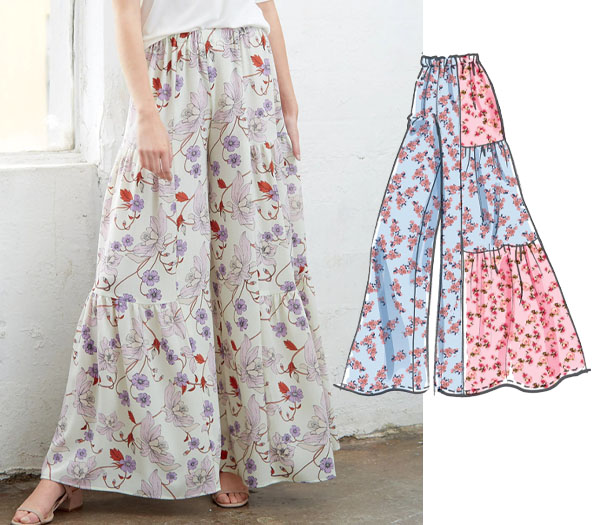 a woman wearing floral palazzo pants with ruffles, and a sewing pattern line drawing.