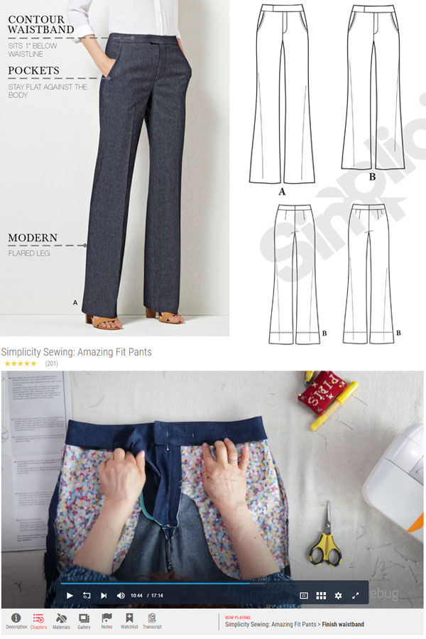 woman wearing wide leg flare pants, and sewing pattern line drawings for simplicity 8056