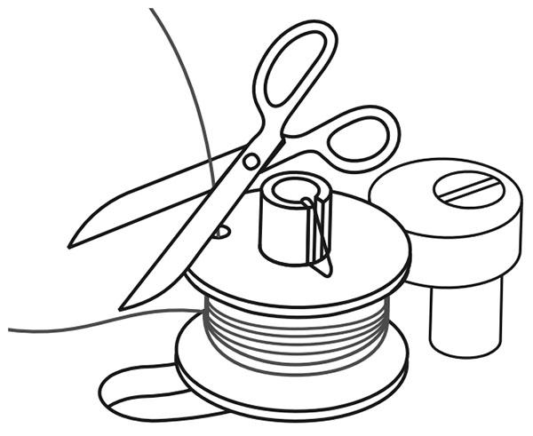 illustration showing bobbin thread being cut