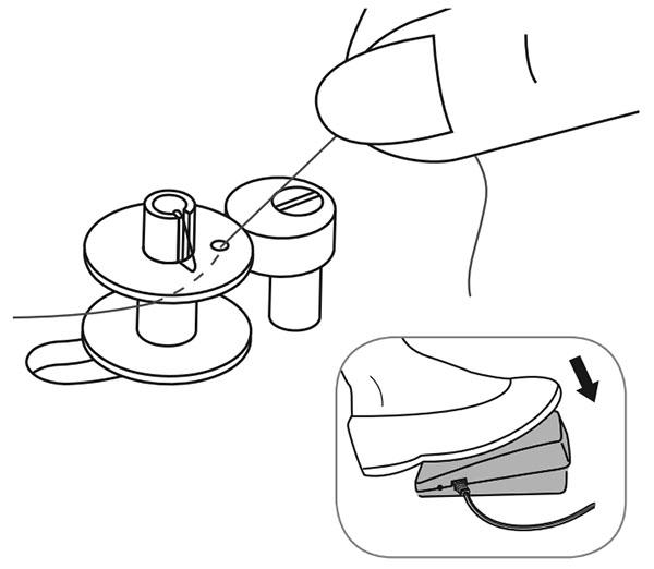 illustration showing bobbin being wound