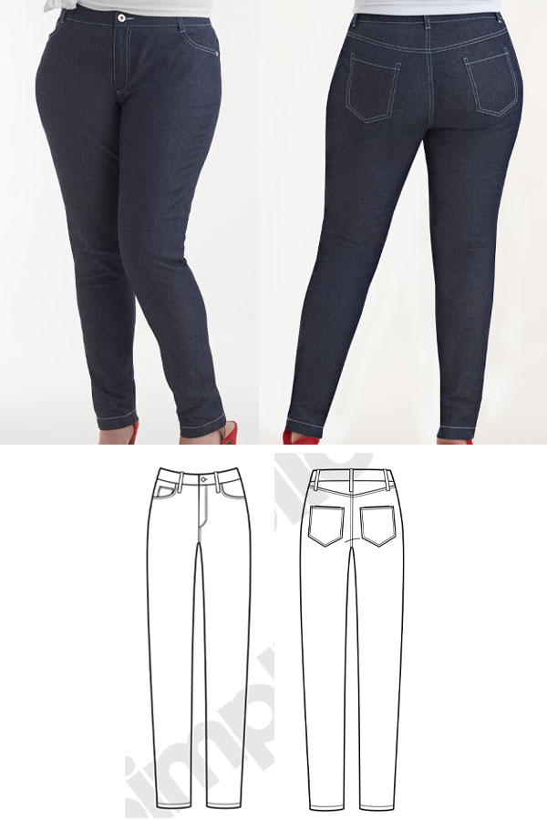 front and back view of a woman wearing skinny jeans, and sewing pattern line drawings.