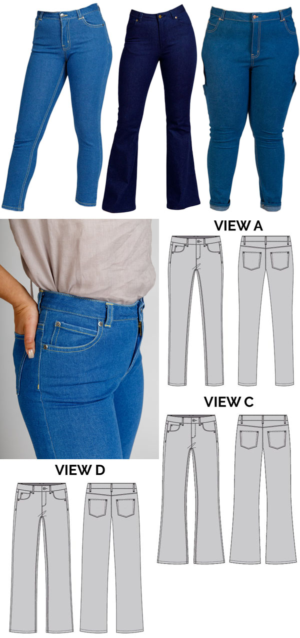 4 blue jeans, and sewing pattern line drawings.