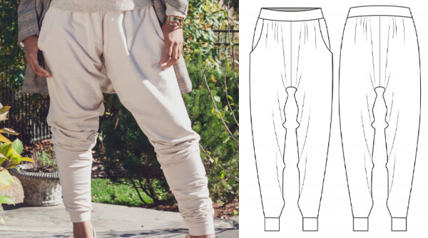 a woman wearing cream harem style jogger pants, and a sewing pattern line drawing.