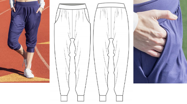 a woman wearing purple harem style jogger pants, and a sewing pattern line drawing.