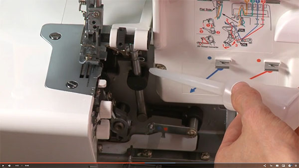 a serger machine being oiled