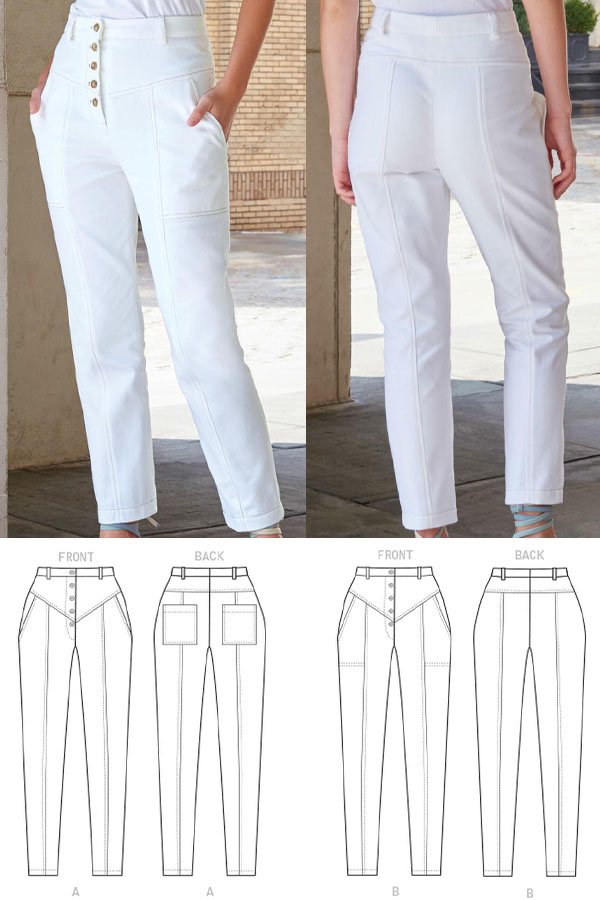 front and back view of a woman wearing white jeans. And sewing pattern line drawings.