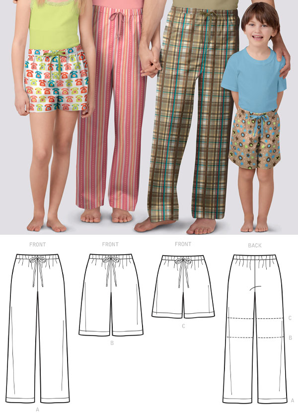 a family wearing printed pajamas, and sewing pattern line drawings.