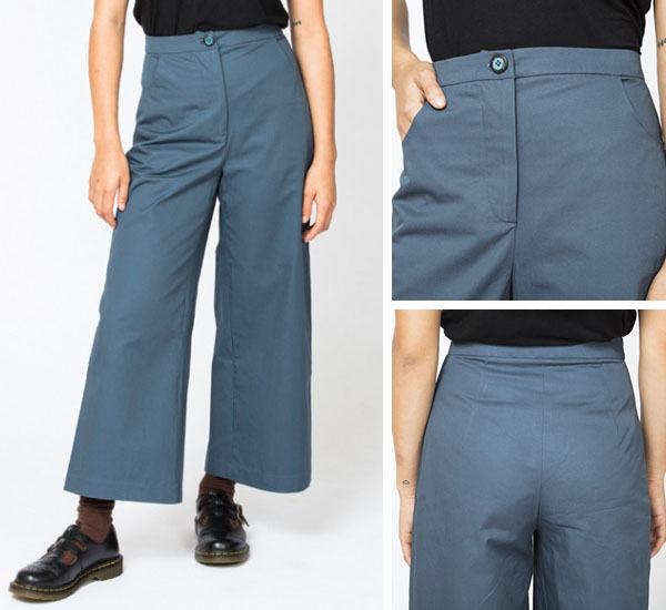 Front and back views of a woman wearing blue wide leg pants.