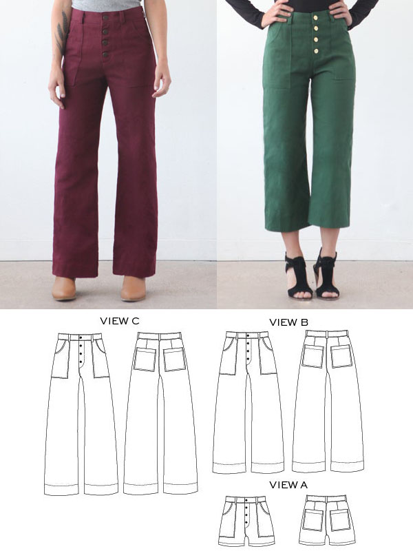2 women wearing wide leg pants with button flys and pockets, and sewing pattern line drawings