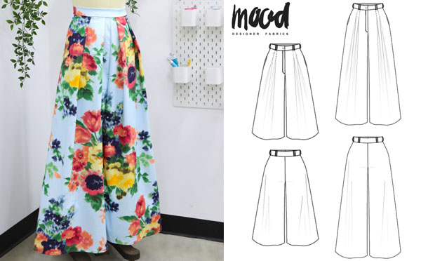 diy palazzo pants with large blue, red, and yellow flowers. And a sewing pattern line drawing.