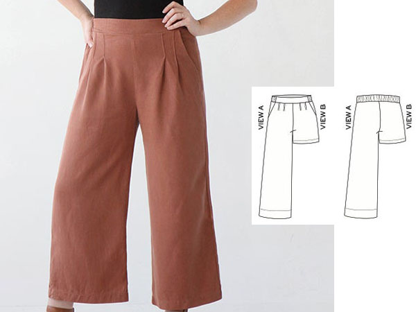 a woman wearing brown wide leg pants, and a sewing pattern line drawing.