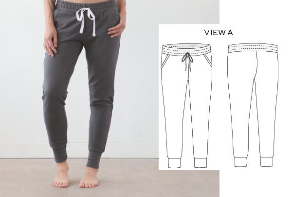 a woman wearing grey joggers, and a sewing pattern line drawing