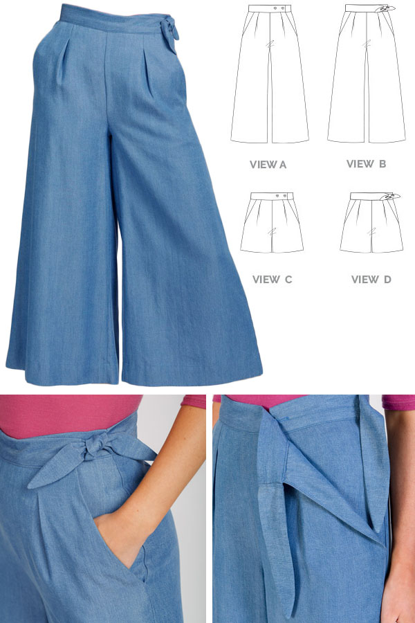 woman wearing blue wide leg pants, and 4 sewing pattern line drawings