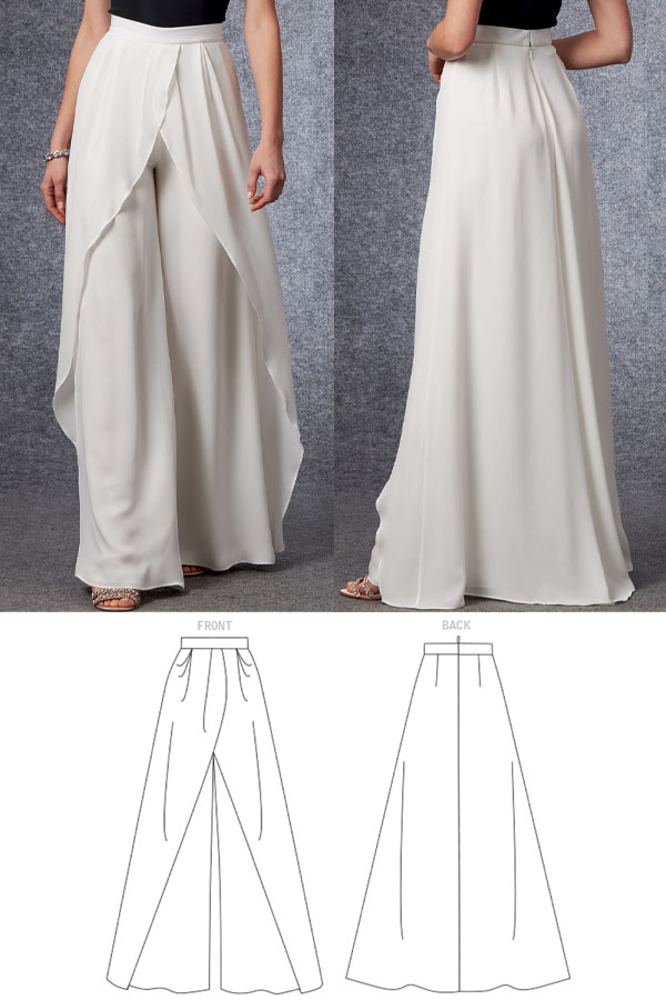 a woman wearing white wrap pants, and sewing pattern line drawings.