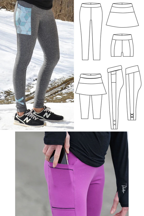 women wearing yoga leggings with side pockets, and sewing pattern line drawings.