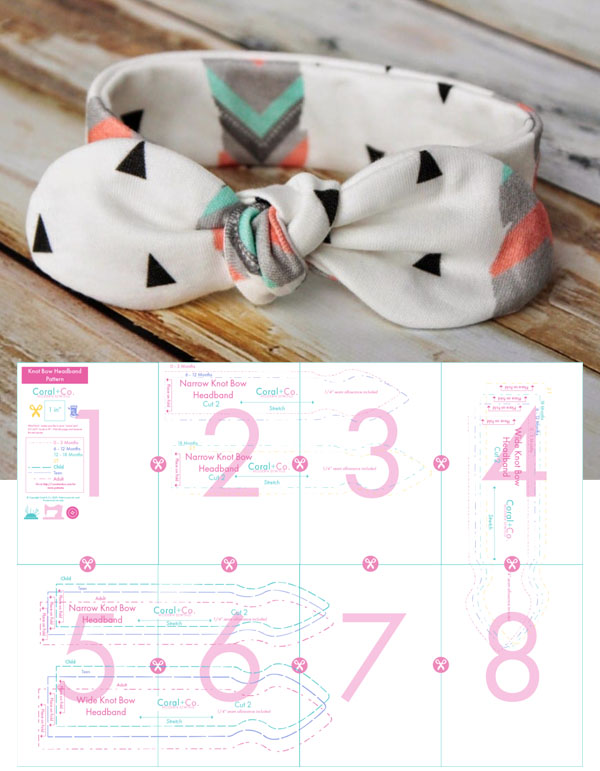 DIY bow headband on a table, and sewing pattern line drawings underneath.