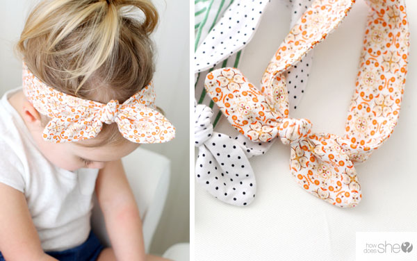 left] a girl wearing an orange bow headband, [right] diy orange bow headband on a white table.
