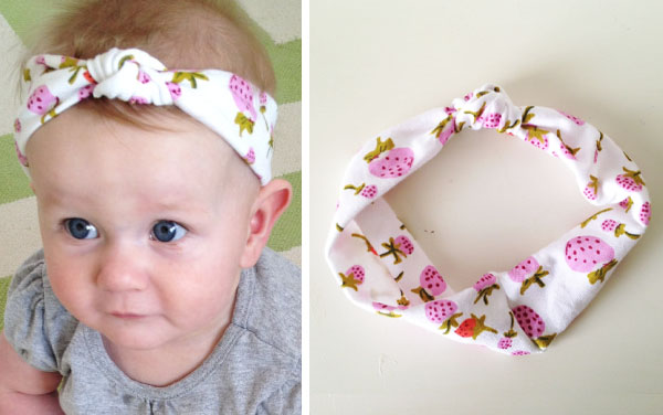 [left] a baby wearing a diy knot headband, [right] a strawberry print knot headband on a white table.