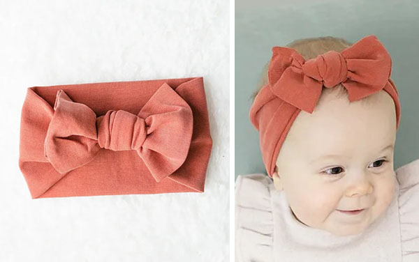 [left] orange diy headband, [right] a baby wearing the bow headband.