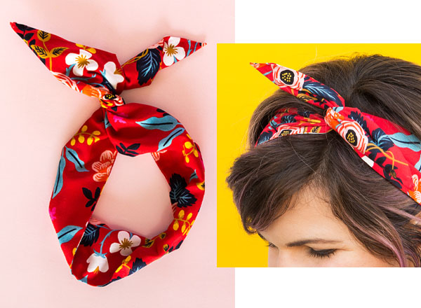 red floral headband with a bow on a pink table, and a woman wearing the headband.