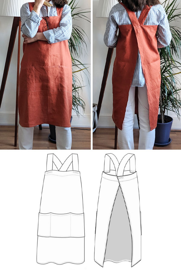 Front and back view of a woman wearing a red linen apron, and a sewing pattern line drawing.
