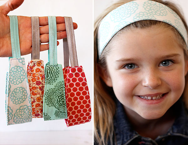 [left] a hand holding 4 DIY headbands with elastic, [right] a girl wearing a blue and white headband.