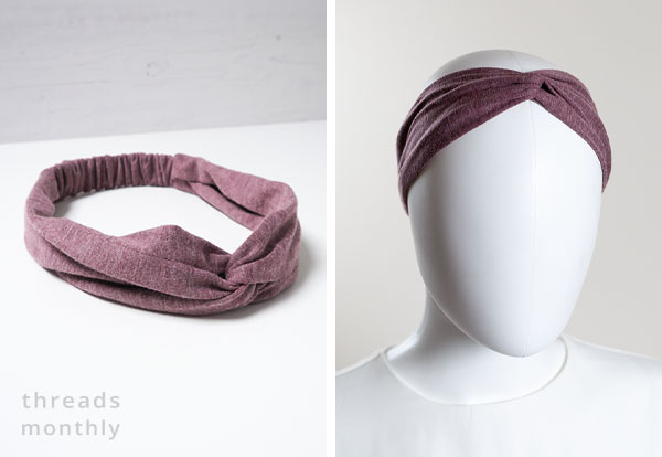[left] DIY purple twist headband on a table, [right] a female mannequin wearing the purple twist headband.