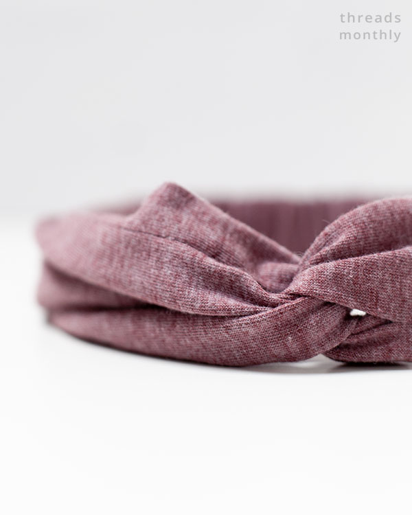 close-up of twisted knot on diy headband