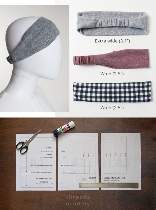 DIY wide and extra wide headbands in purple, grey, and black check prints. A printed sewing pattern on a brown table.