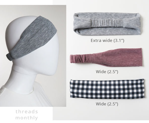3 wide headbands in grey, purple, and check print