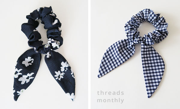 black floral scrunchie and blue check scrunchie with bows