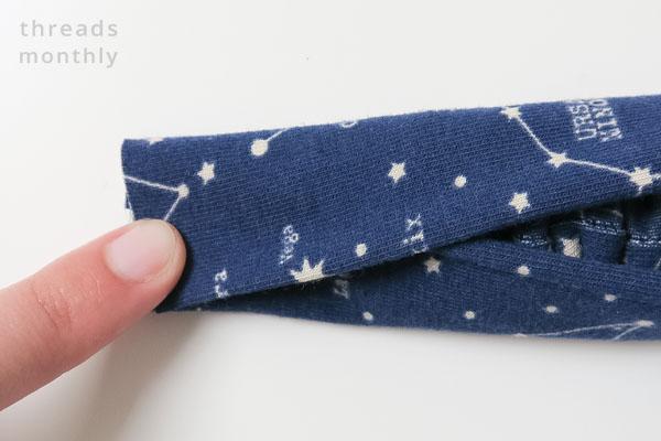 fabric folded over the elastic