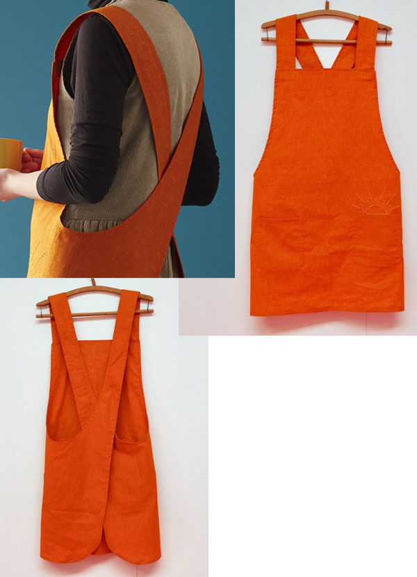 a woman wearing an orange cross-back apron, and front and back views of the DIY apron.