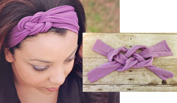 a woman wearing a purple stretchy headband with celtic knots