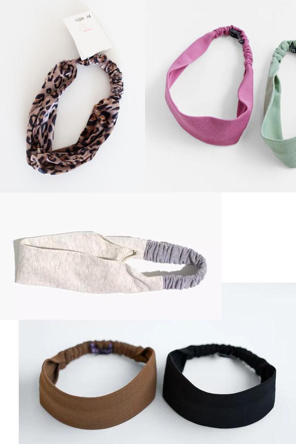 6 wide headbands with elastics