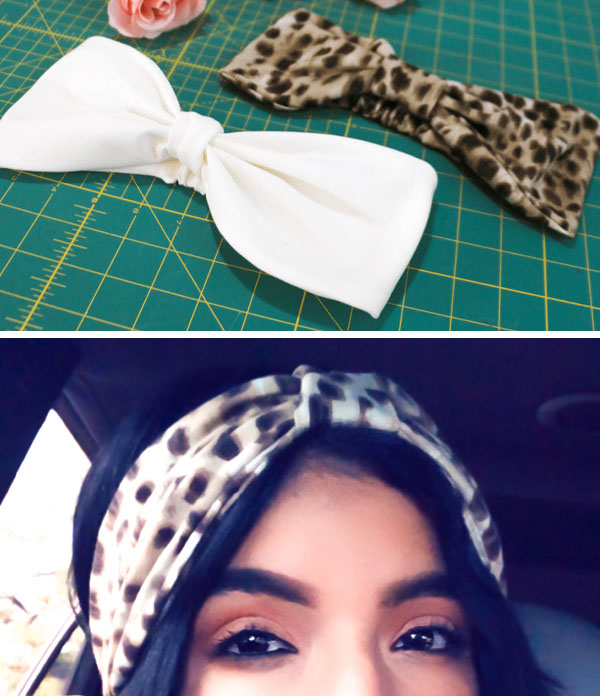 [top] 2 white and cheetah print diy knot headbands, [bottom] a woman wearing the cheetah print knot headband.