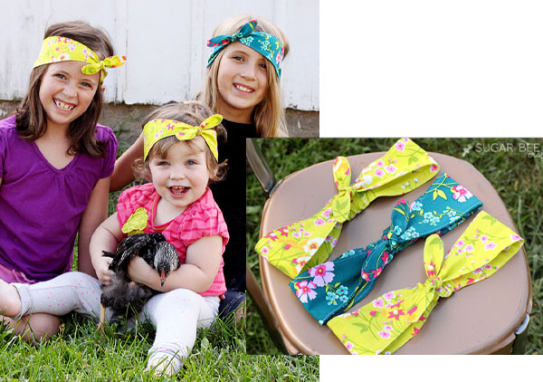 3 children wearing yellow and blue DIY headbands with bows.