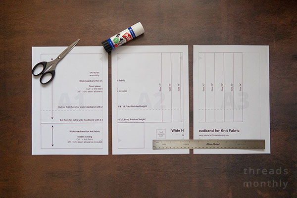 printable headband sewing pattern on a brown table