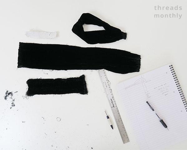 turban knot headband taken apart