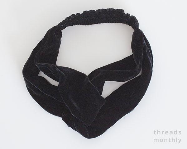 black silk velvet turban knot headband