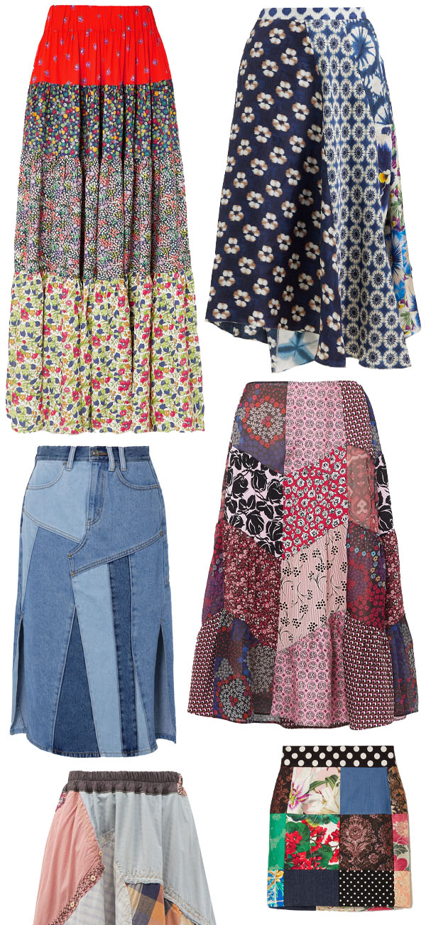 6 patchwork skirts in colorful prints and colors