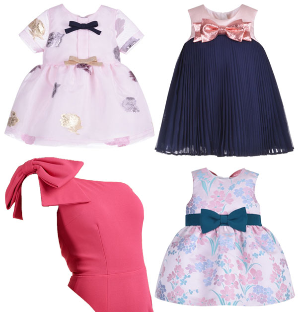 4 pink and blue dresses with bows