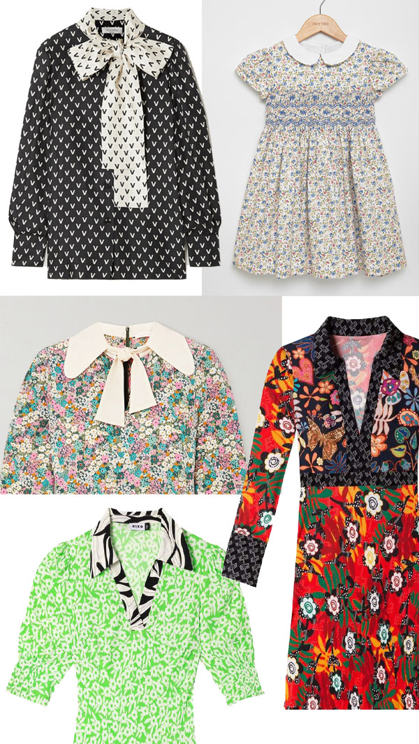 printed dresses and tops with collars